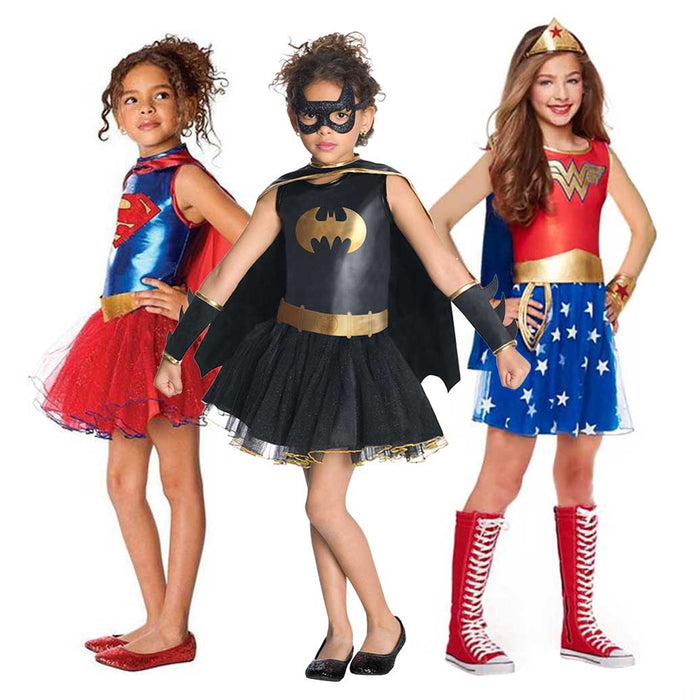 Superhero Girls Costume Wonder Women Costume Batgirl Robin Supergirl Costume DC Superhero Outfit Halloween Costume for Kids