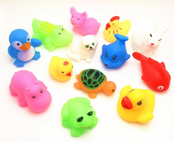 13 PCs Mixed Animals Soft Rubber Float Squeeze Squeaky Bathing Toys