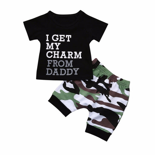 Newborn Boys Letter Print T-Shirt & Camouflage Shorts Clothing Set