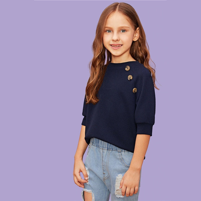 SHEIN Kiddie Navy Solid Girls Button Front Blouse Shirts Kids Clothing Summer Half Sleeve Casual Shirts