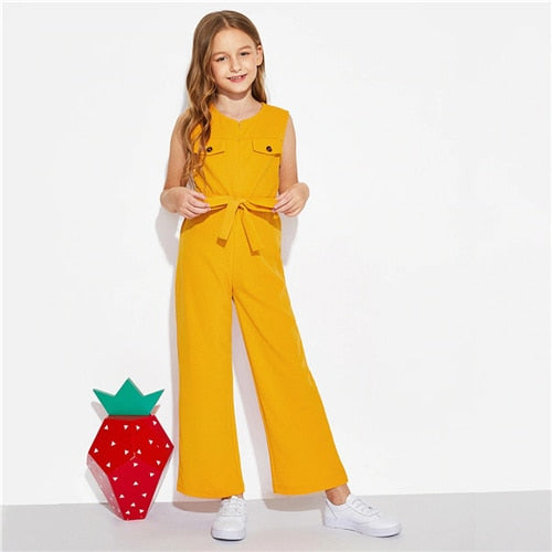 SHEIN Kiddie Ginger Zipper Front Boho Girls Jumpsuit With Belt  Summer Sleeveless Vacation Casual Wide Leg Kids Jumpsuits