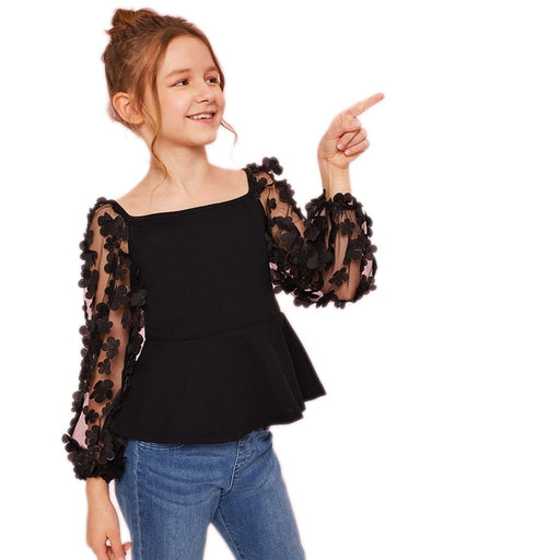 SHEIN Kiddie Girls Flower Applique Mesh Sleeve Party Peplum Blouse Teenagers