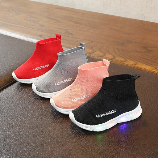 Kids Elastic Collar Led Shoes | Breathable LED Glowing Sneakers