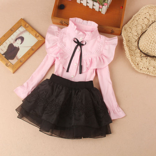 Girls Casual Wear | Girls Long Sleeve Shirts & Frilled Lace Skirts