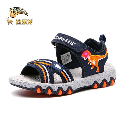 DINOSKULLS Children's Sprots Shoes Sandals Boys Dinosaur Luminous LED With Light Up Summer New Kids Open-Toe Sandals Breathable