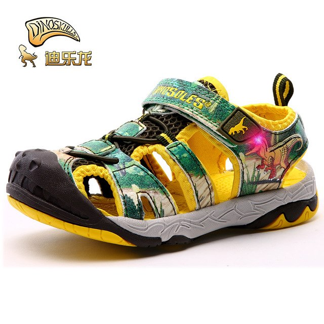 DINOSKULLS Boy Sandals Kids Children Summer New Beach Led With Light Sandals Primary Student Sports Shoes For Boys Size 27-34