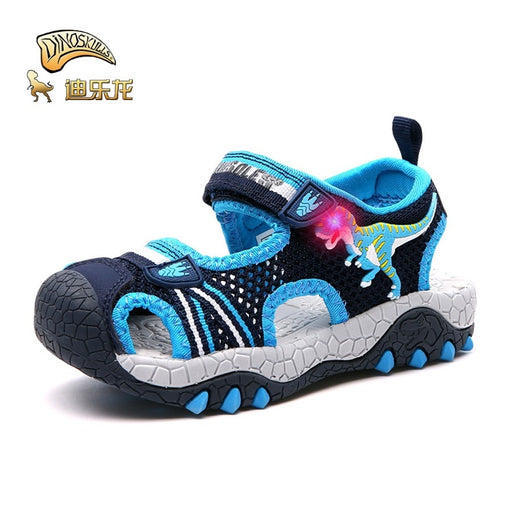 DINOSKULLS Jongen Sandals Boys Dinosaur Luminous Glowing Closed Toe Breathable Summer Children's Sprots Shoes Sneakers Sandals