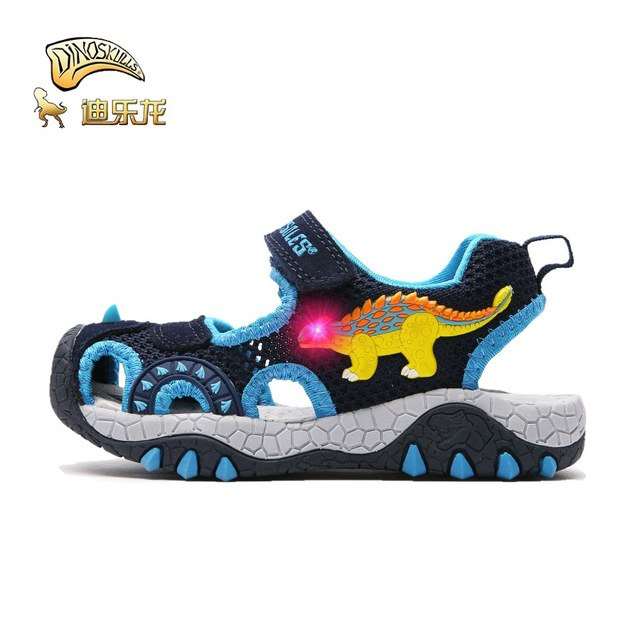 DINOSKULLS Children's Sprots Shoes Sandals Boys Dinosaur Luminous Closed Toe Breathable Summer Sneakers Kids Sandals Size27-32