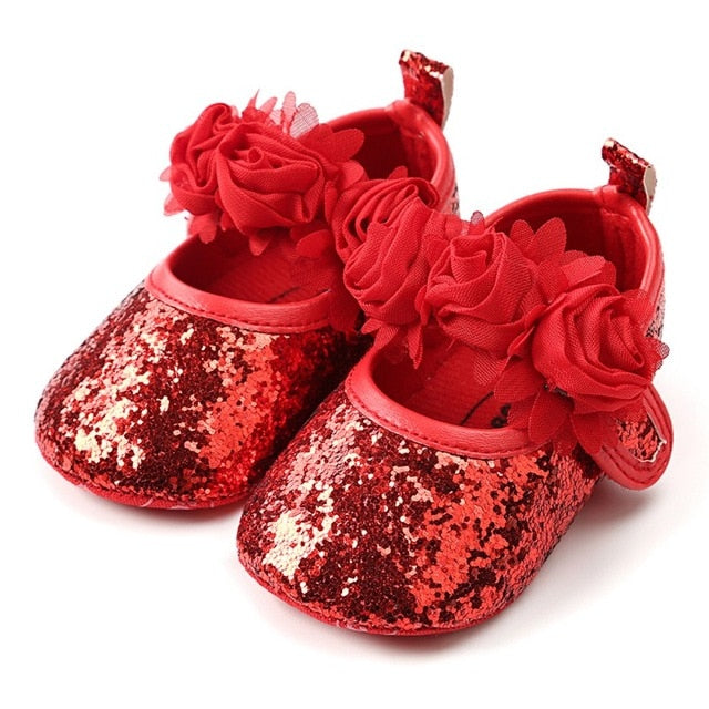 Newborn Baby Girl Shoes | Sequins Glitter Crib Shoes | Toddlers Soft Sole Prewalker Party Shoes