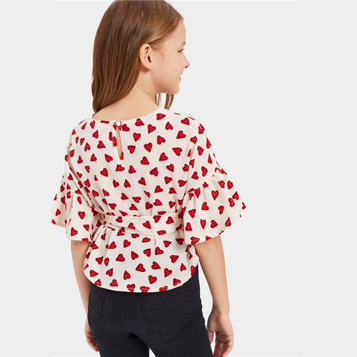SHEIN Kiddie Hearts Print Girls Cute Blouse With Belt Kids Top