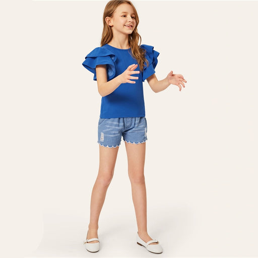 SHEIN Kiddie Blue Solid Ruffle Layered Sleeve Casual Kids Blouse