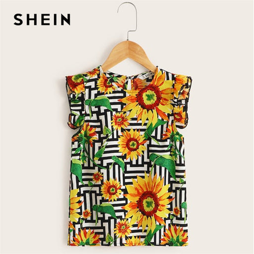 57a37356c6 SHEIN Kiddie Girls Ruffle Armhole Floral Print Boho Blouse Tops 2019 Summer  Cap Sleeve Striped Buttoned