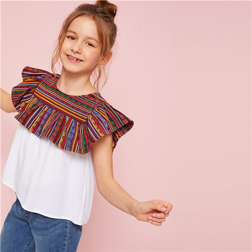 SHEIN Kiddie White Striped Ruffle Trim Casual Girls Blouse Top