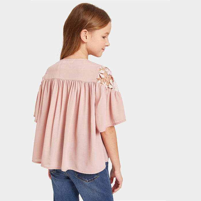 SHEIN Kiddie Pink Solid Buttoned Guipure Lace Pleated Cute Blouse Girls Tops