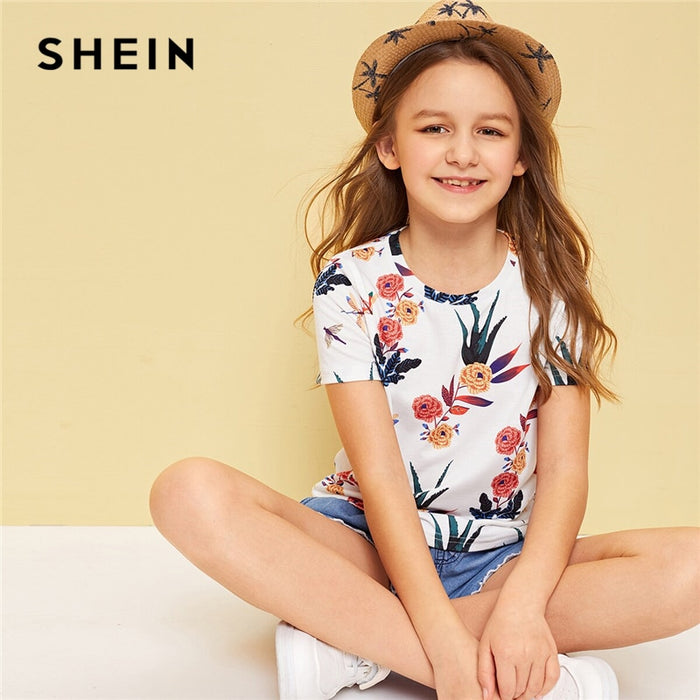 SHEIN Kiddie Toddler Girls White Floral Print Holiday T-Shirt Child Tops