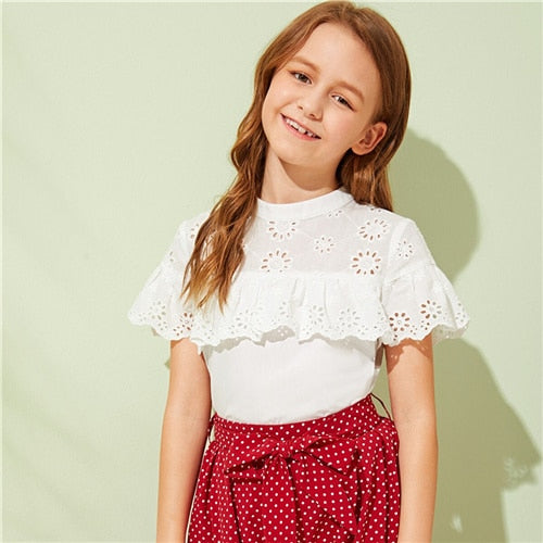 SHEIN Kiddie White Stand Collar Eyelet Embroidery Girls Cute Blouse