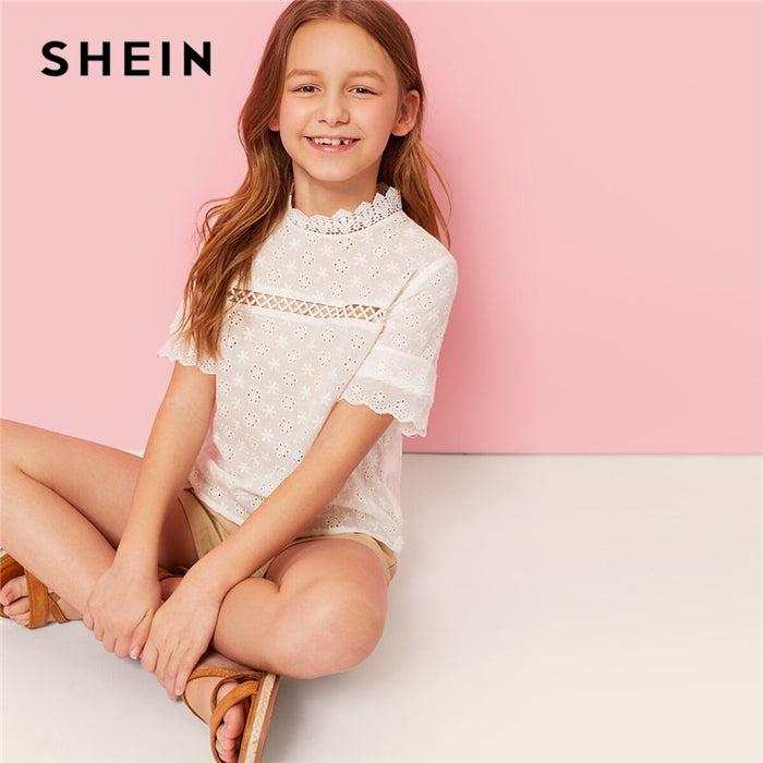 SHEIN Kiddie White Solid Stand Collar Cut Out Scallop Cute Girls Blouse