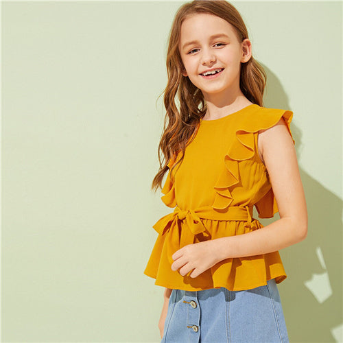 SHEIN Kiddie Ginger Solid Girls Cute Ruffle Trim Belted Peplum Blouse