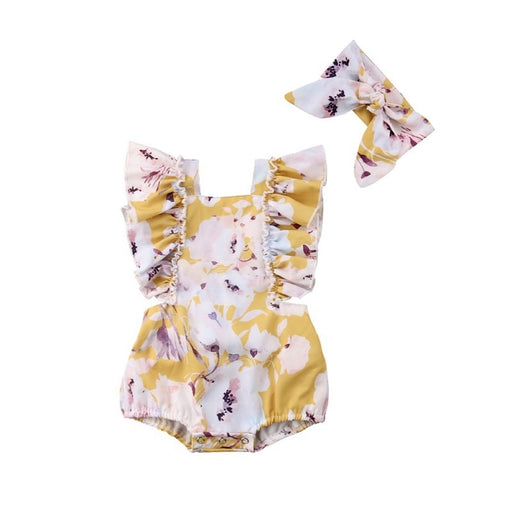 Newborn Girls ruffle sleeve, floral print romper and headband, yellow summer dress set.