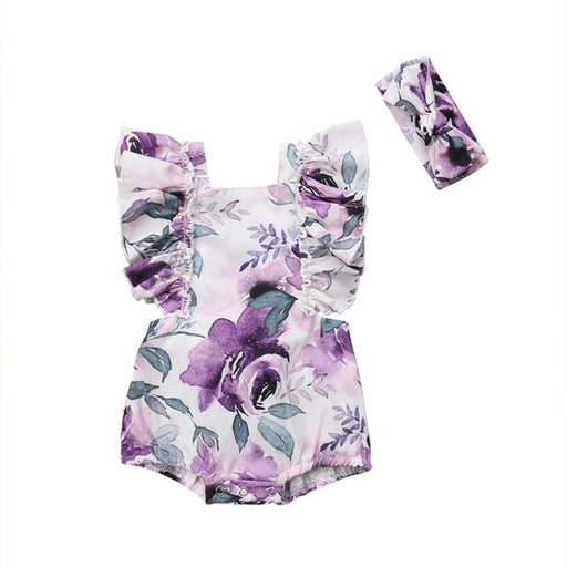Newborn Girls ruffle sleeve, floral print romper and headband, purple summer dress set.