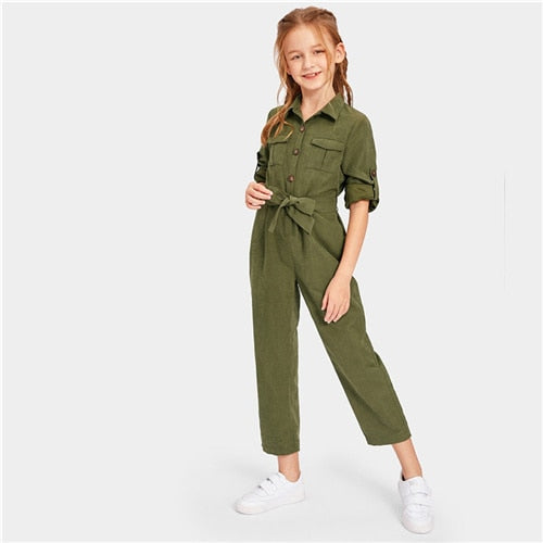 Girls SHEIN Army Green Button Pocket & Belted Dress | Girls Jumpsuit