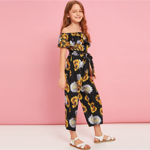SHEIN Kiddie Off The Shoulder Floral Print Girls Boho Belted Jumpsuit | Summer Holiday Short Sleeve Flounce Kids Jumpsuits
