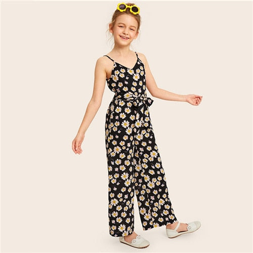 SHEIN Kiddie Black Girls Floral Print Belted Wide Leg Cami Jumpsuit