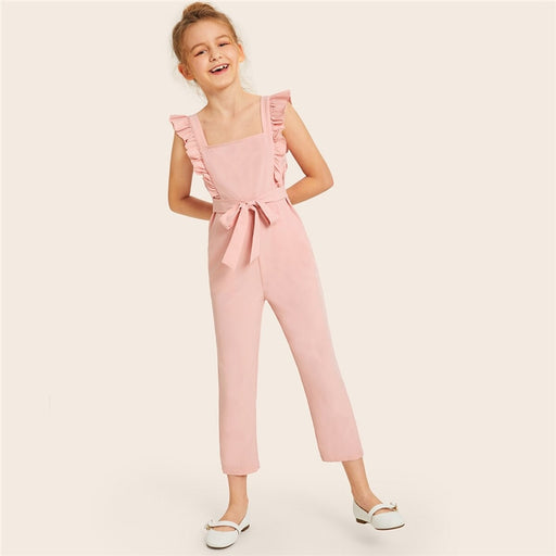 SHEIN Pink Solid Square Neck Ruffle Trim Cute Jumpsuit With Belt | Sleeveless Zipper Back Children Jumpsuits