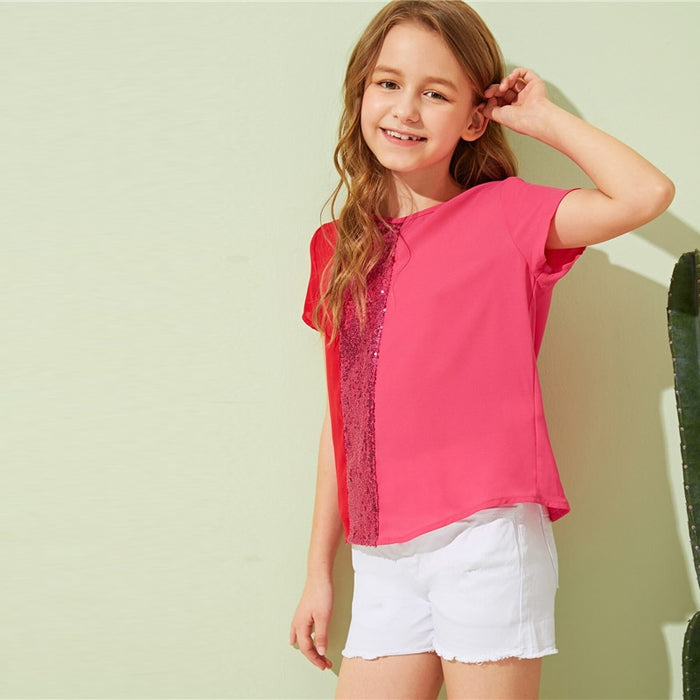 SHEIN Kiddie Pink Contrast Sequin Cut And Sew Girls Casual Blouse Tops