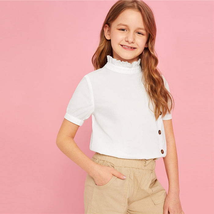 SHEIN Kiddie White Solid Frill Neck Button Front Girls Casual Blouse Teenagers