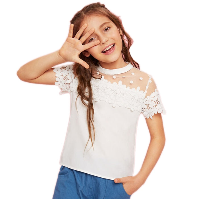 SHEIN Kiddie Girls White Stand Collar Dot Mesh Lace Applique Cute Blouse Tops Kids