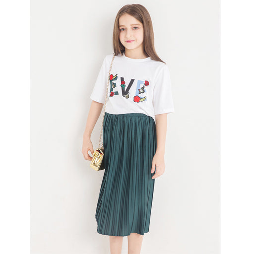 Girls Party Wear Casuals | Print T-shirt & Flared Short Skirt Dress