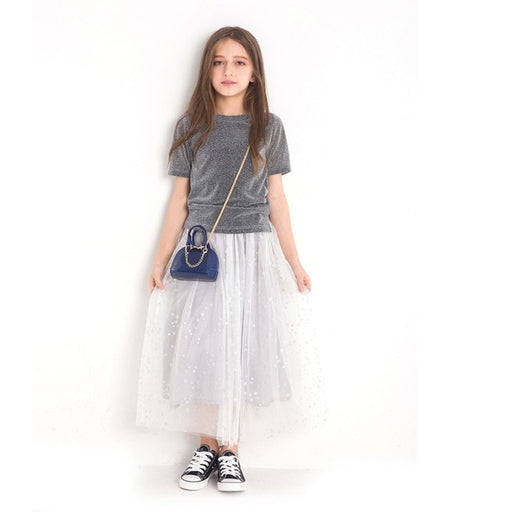 Girls Party Wear Casuals | Velvet T-shirt With Frilled Skirt Dress