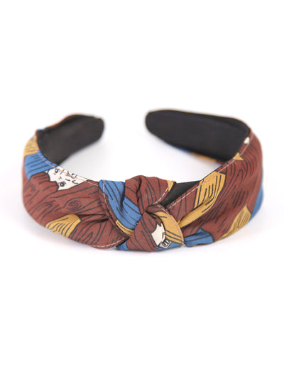 Knotted head band | Vintage printed brown