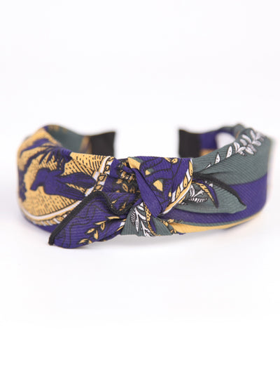 Wired bow head band | Vintage scarf