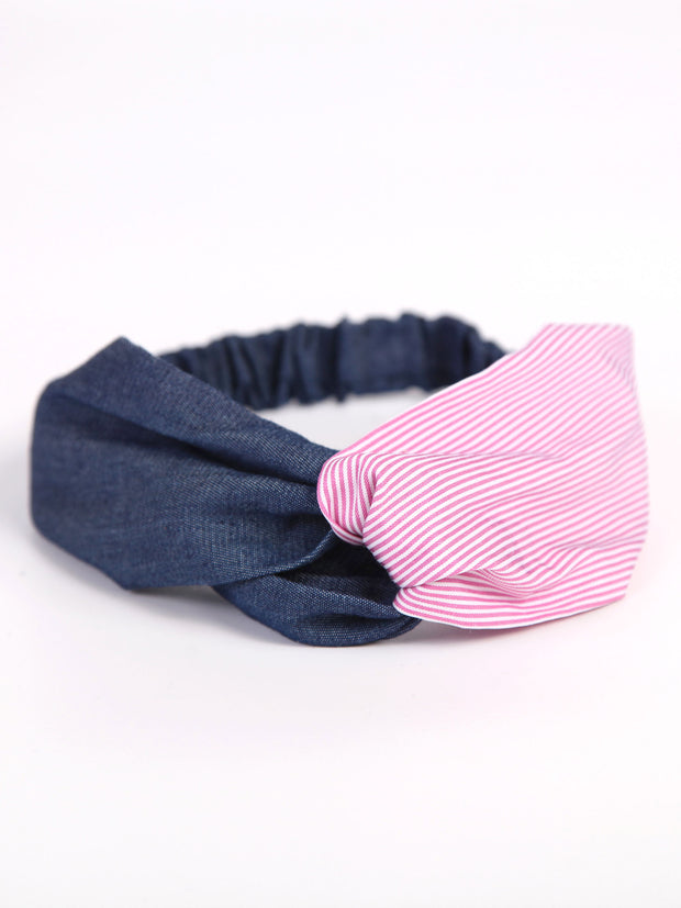 Twist headband | Denim x Hickory pattern