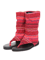 Flat boho bootie sandals | Red ruby
