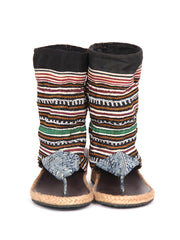 Vintage Hmong Tribal Print Wedge Bootie Sandal |  Green line