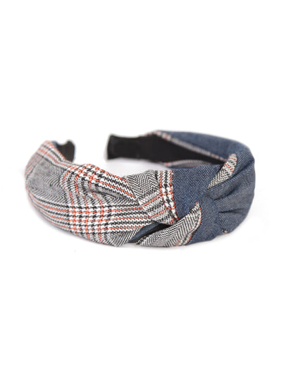 Knotted headbands - Denim x Tartan check