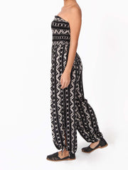 Halona Strapless Smocked Printed Tube Jumpsuits