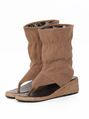 Wedge bootie sandals | Khaki