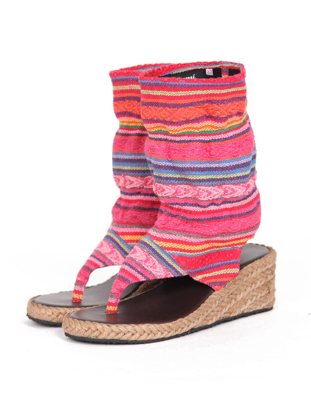 Wedge boho bootie sandals | Pink