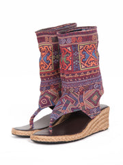 Wedge boho bootie sandals | Purple