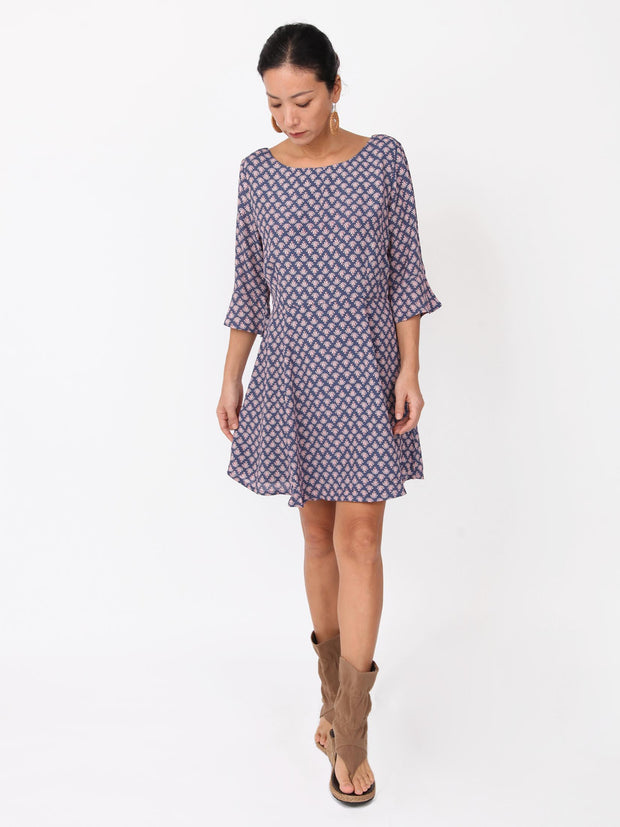 Kacia U back neck three-quarter sleeves Dress