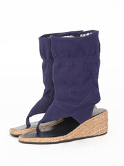 Wedge bootie sandals | Navy