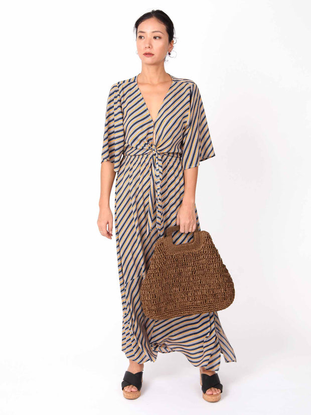 Gabby Handbag wooden square handle Paper Straw Woven Bag