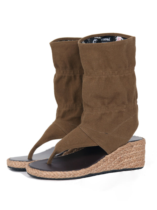 Wedge bootie sandals | Dark Khaki