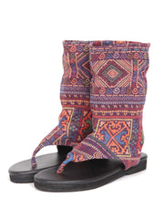 Flat boho bootie sandals | Purple