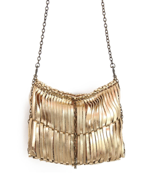 Sleeky funky shoulder & Clutch bag | Metallic | Brass