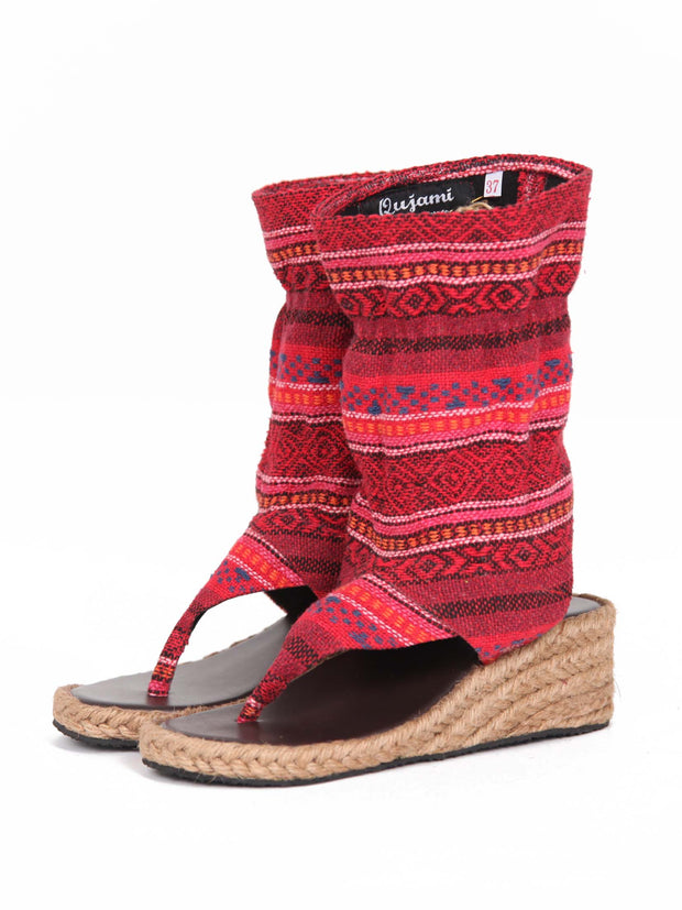 Wedge boho bootie sandals | Red ruby